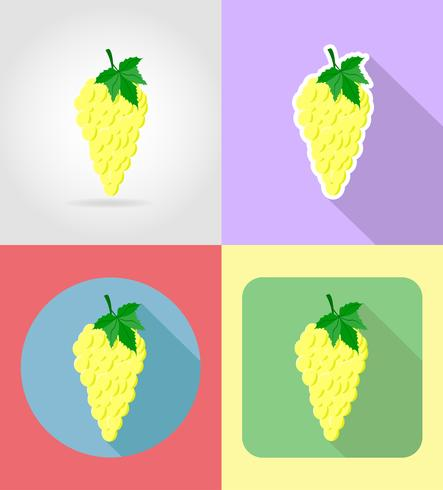 Set flache Ikonen der Traubenfrüchte mit der Schattenvektorillustration