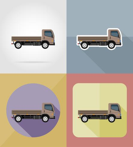 camión para transporte de carga plana iconos vector illustration