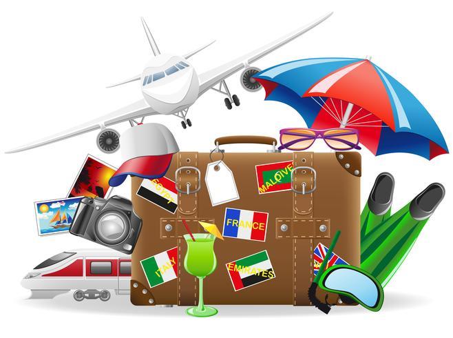 vieille valise de voyage et éléments pour une illustration vectorielle de loisirs estivaux