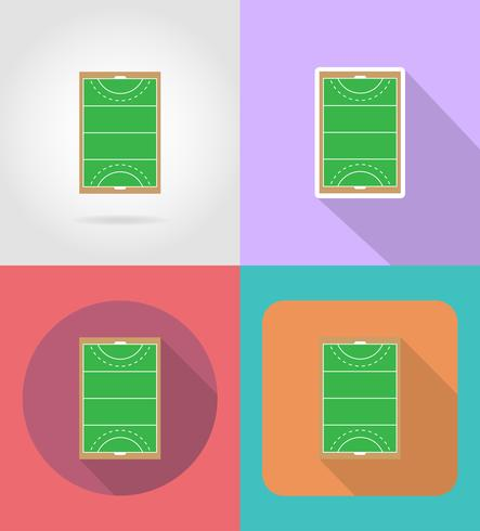 field of play in hockey on grass flat icons vector illustration