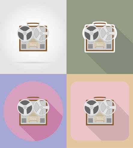 old retro vintage recorder flat icons vector illustration
