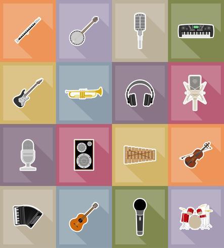 Ilustración de vector de iconos planos de equipo y artículos de música