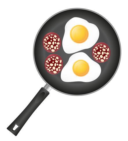Huevos fritos con salchicha en una ilustración de vector de sartén