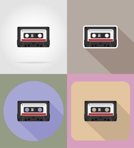 vecchie icone piane di audiocassetta vintage retrò illustrazione vettoriale