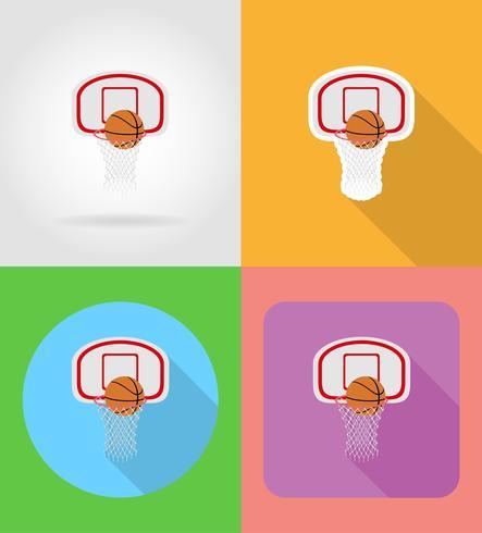 flache Ikonen des Basketballkorbs und -balls vector Illustration