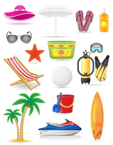 set van strand iconen vector illustratie
