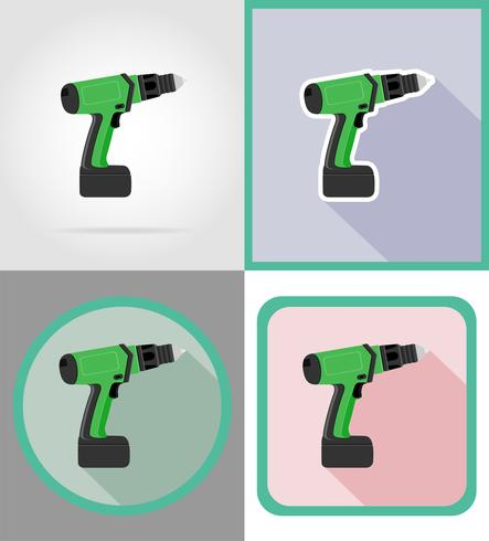 elektrische boorhulpmiddelen voor bouw en reparatie vlakke pictogrammen vectorillustratie