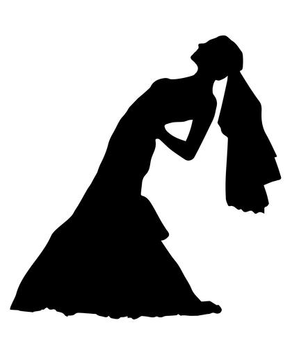bride realistic silhouette vector illustration