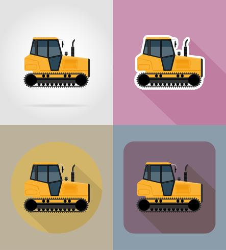 caterpillar trekker plat pictogrammen vector illustratie
