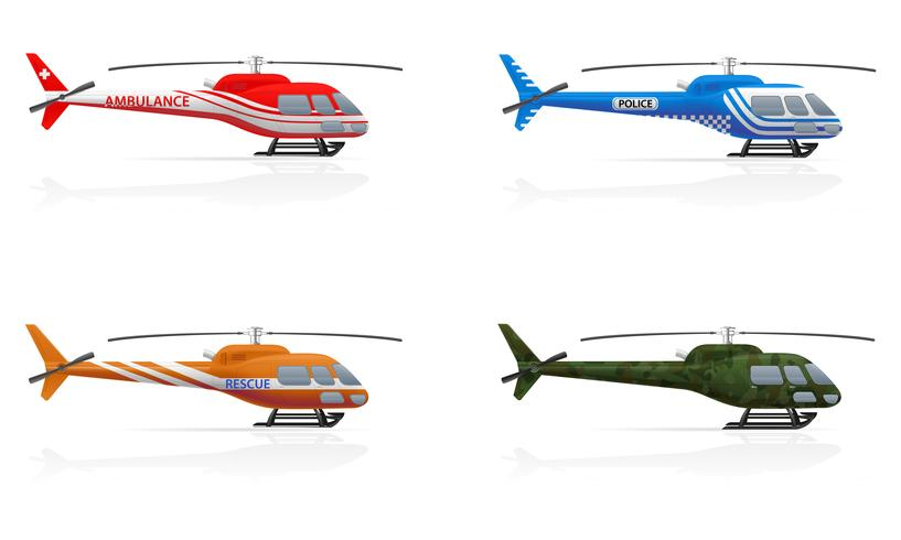 special purpose helicopters vector illustration