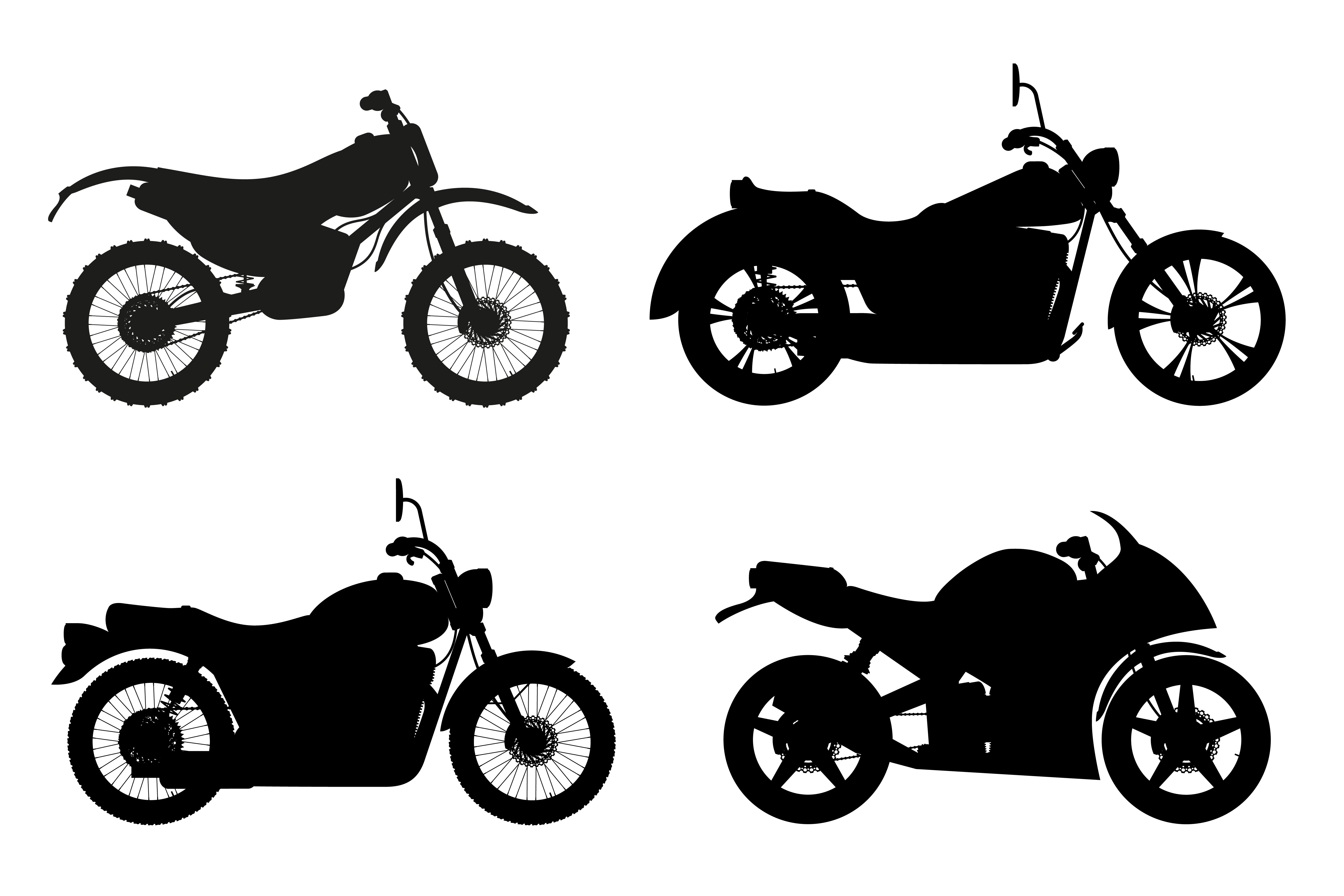 motorcycle set icons black outline silhouette vector ...