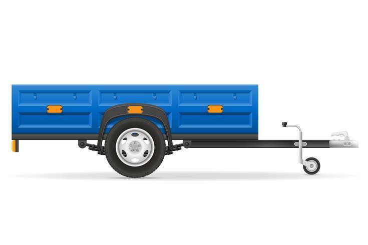 Remolque de coche para el transporte de mercancías ilustración vectorial vector