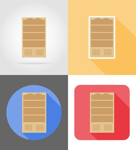 bookcase furniture set flat icons vector illustration