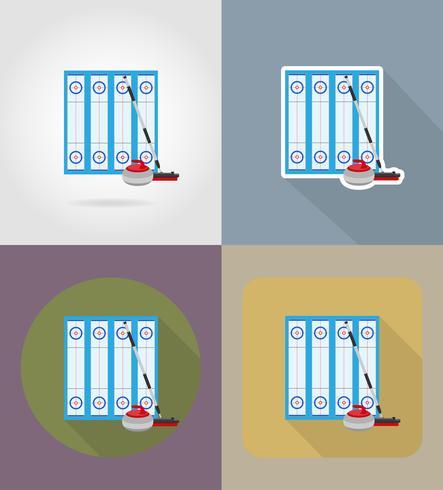 lekplats för curling sportspel platt ikoner vektor illustration