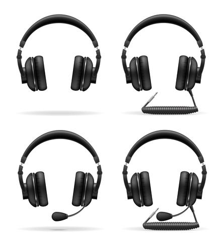 set icons acoustic headphones vector illustration