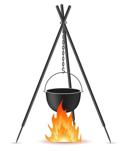 pot voor koken boven een vuur vectorillustratie vector