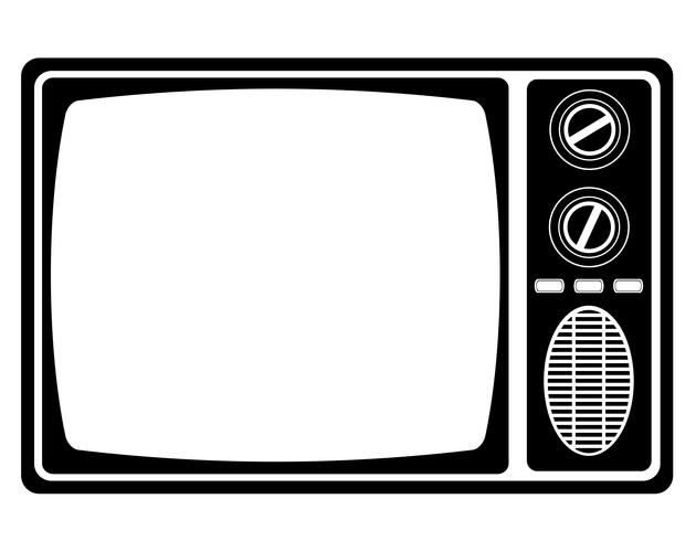 TV viejo retro vintage icono stock vector ilustración negro contorno silueta