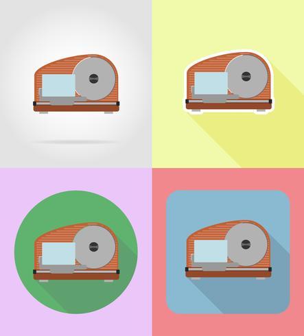 Cortadora de electrodomésticos para los iconos planos de cocina vector ilustración