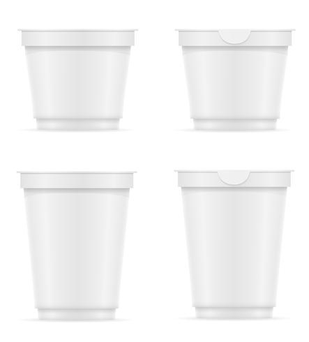 Recipiente de plástico blanco de yogur o helado ilustración vectorial