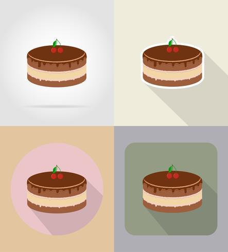 Schokoladenkuchenlebensmittel und flache Ikonen der Gegenstände vector Illustration