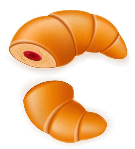 croissant croccante con l'illustrazione di vettore di riempimento di ciliegia o fragola rotto