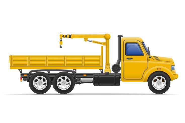 Camión de carga con grúa para levantar mercancías ilustración vectorial vector