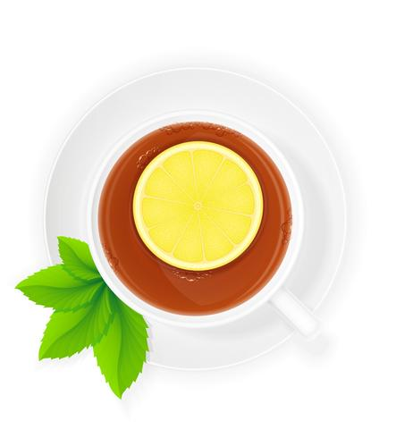 porcelain cup of tea with lemon and mint vector illustration