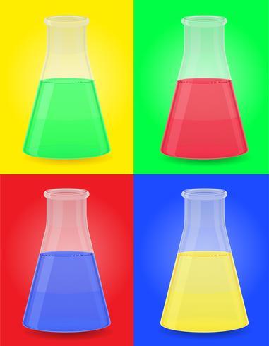 glazen reageerbuis met kleur vloeibare vectorillustratie