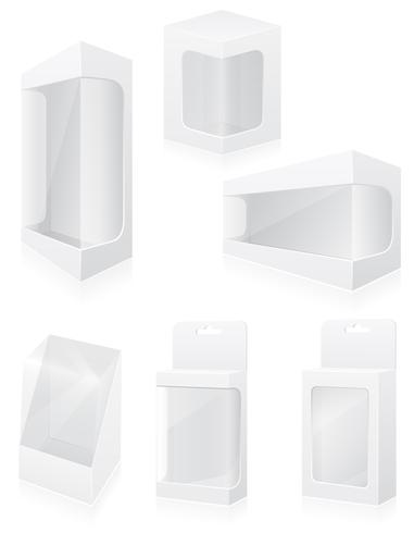 transparante verpakkingsdoos vastgestelde pictogrammen vectorillustratie