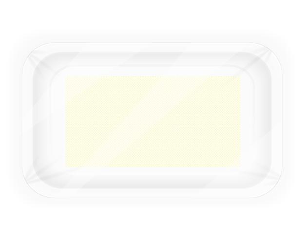 witte plastic container verpakking voor voedsel vectorillustratie