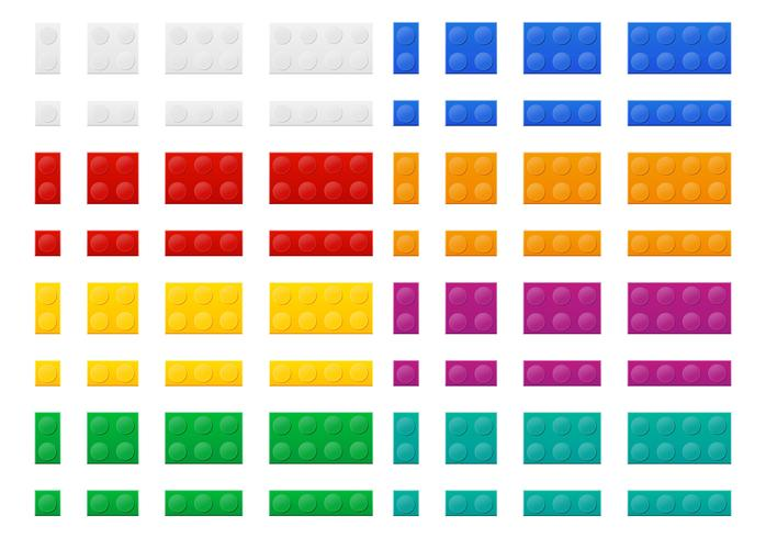 set of colored plastic constructor top view vector illustration