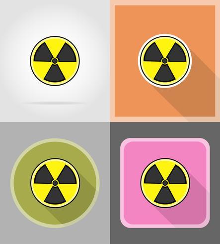 sign radiation flat icons vector illustration