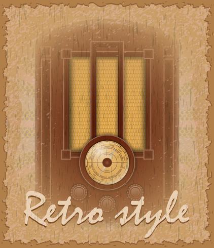 cartel de estilo retro vieja ilustración de vector de radio