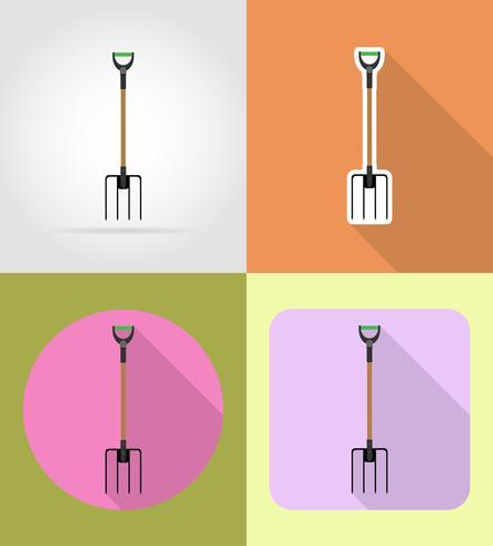 trädgårdsredskap pitchfork platt ikoner vektor illustration