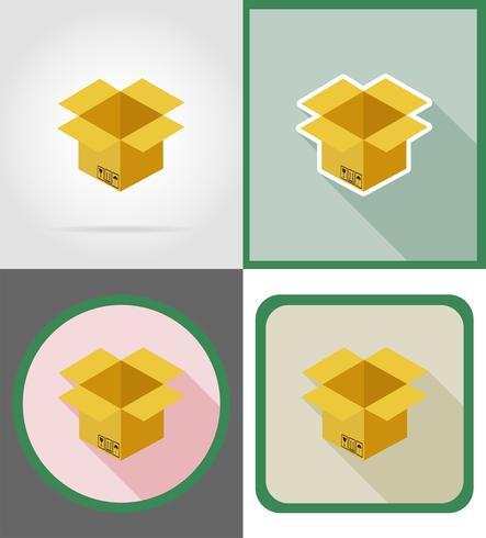 icônes de plat livraison boîte en carton vector illustration