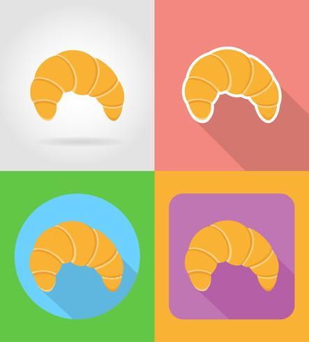 Iconos planos de croissant comida rápida con la ilustración de vector de sombra