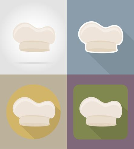 cook cap objects and equipment for the food vector illustration