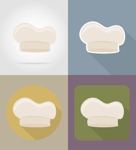 Cocine los objetos de la tapa y el equipo para la ilustración de vector de comida