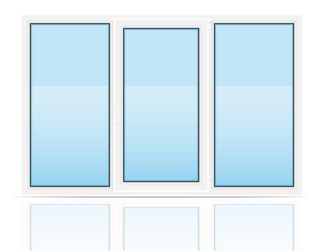 plastic transparant venster weergave binnenshuis vectorillustratie