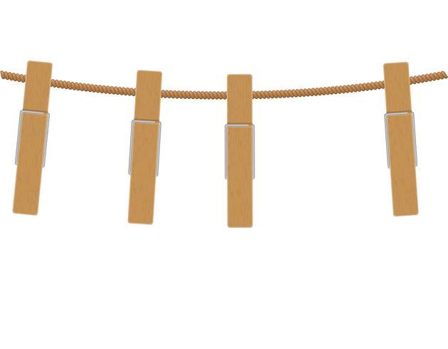 prendedores de roupa de madeira na ilustração vetorial de corda