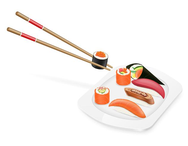Conjunto diverso de sushi con palillos en una ilustración de vector de placa