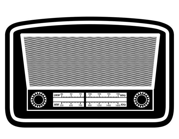 radio old retro vintage icon stock vector illustration black outline silhouette
