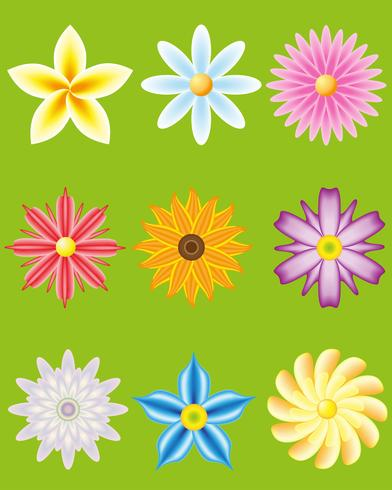 icon set of flowers for design vector