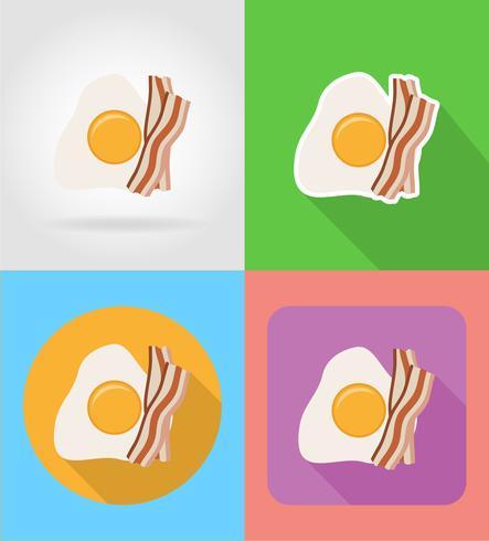 icone piane degli alimenti a rapida preparazione del bacon dell'uovo fritto e dell'ombra con l'illustrazione di vettore dell'ombra