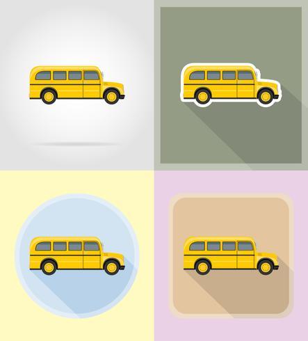 oude retro bus plat pictogrammen vector illustratie
