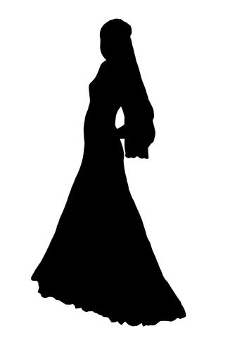 bruid realistische silhouet vectorillustratie