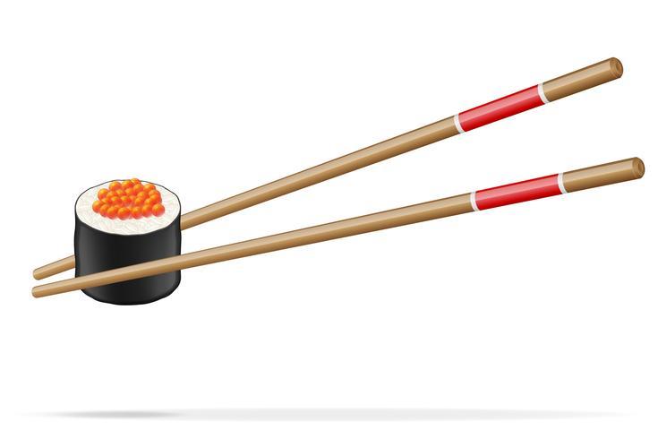 Sushi und Essstäbchen-Vektor-Illustration