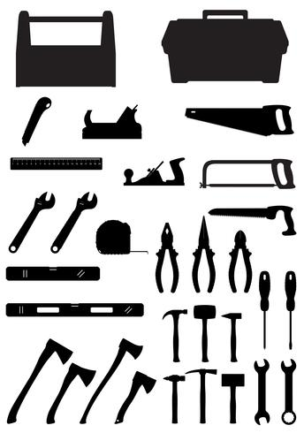 black silhouette set tools icons vector illustration