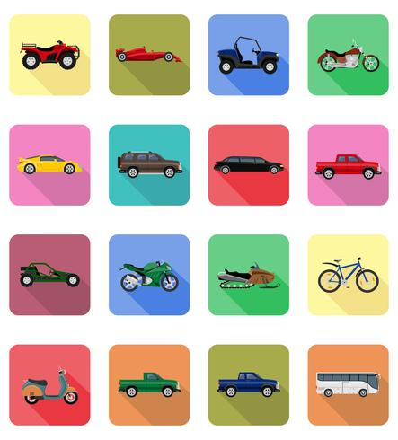 transporte plano iconos vector illustration