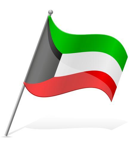 Bandera de Kuwait ilustración vectorial